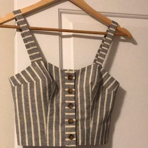 Tops - Topshop Cropped Striped Top
